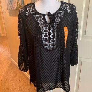 Bila Black lace top Stitch Fix size med NWT $52